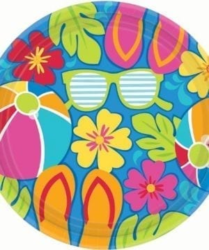 Amscan Summer Splash Luau Party Dinner Plates 105 0 300x360