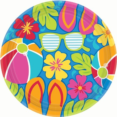 Amscan Summer Splash Luau Party Dinner Plates 105 0