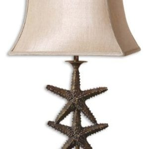 Antique Gold Dark Gray Wash Starfish Design Table Lamp From The Starfish Collection 0 300x300