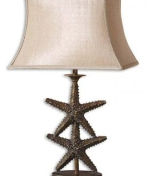 Antique Gold Dark Gray Wash Starfish Design Table Lamp From The Starfish Collection 0 300x360