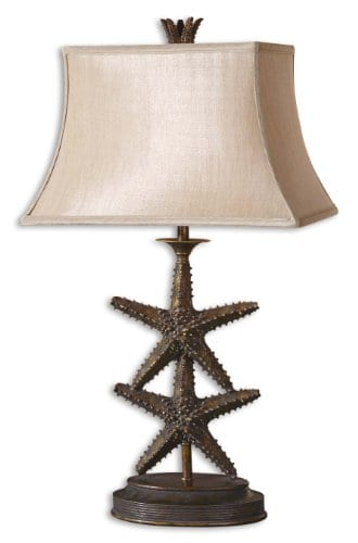 Antique Gold Dark Gray Wash Starfish Design Table Lamp From The Starfish Collection 0