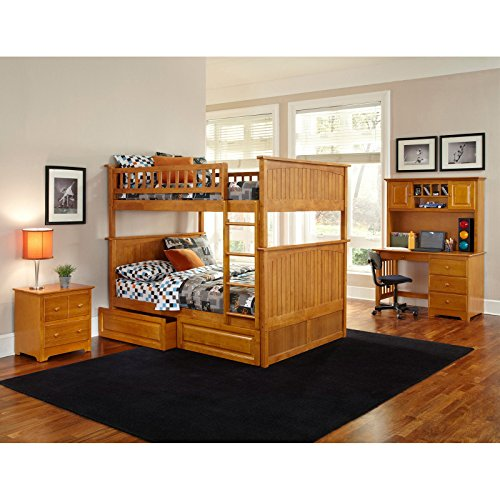 Atlantic Furniture Nantucket Full Over Full Bunk Bed With A Raised Panel Trundle Bed 0 0