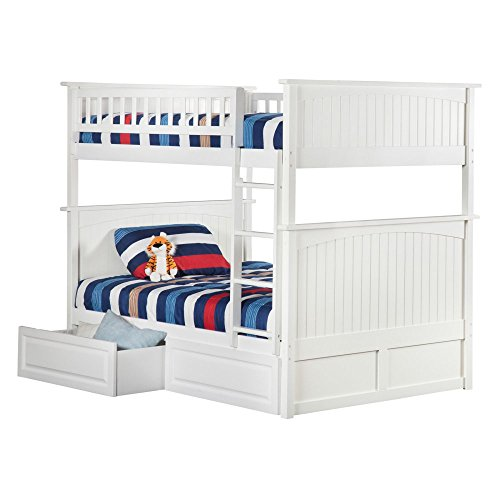 Atlantic Furniture Nantucket Full Over Full Bunk Bed With A Raised Panel Trundle Bed 0