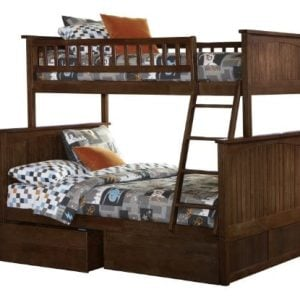 Atlantic Furniture Nantucket Twin Over Full Bunk Bed With 2 Flat Panel Bed Drawers 0 300x300
