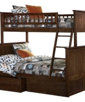 Atlantic Furniture Nantucket Twin Over Full Bunk Bed With 2 Flat Panel Bed Drawers 0 300x360