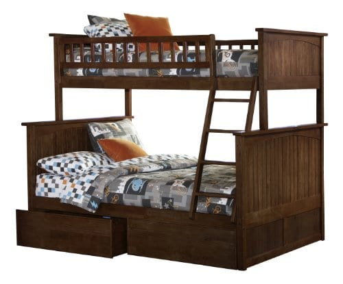Atlantic Furniture Nantucket Twin Over Full Bunk Bed With 2 Flat Panel Bed Drawers 0