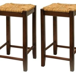 Bar Stool 24 Inch Rush Seat Walnut Finish S2 Set Of Two 0 300x300