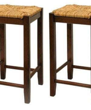 Bar Stool 24 Inch Rush Seat Walnut Finish S2 Set Of Two 0 300x360