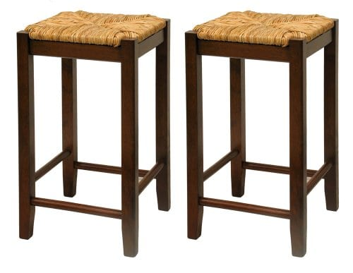 Bar Stool 24 Inch Rush Seat Walnut Finish S2 Set Of Two 0