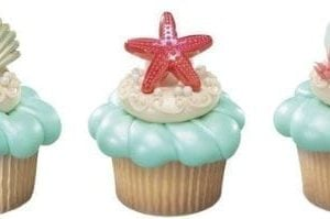 Beach Seashell Sand Dollar And Starfish Cupcake Rings 24 Ct 0 300x199