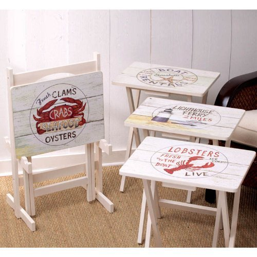 Cape Craftsman TV Tray Set With Stand Nautical Set Of 4 0 0