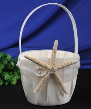 CheckMineOut Cream Starfish Seashell Satin Ring Pillow And Flower Girls Basket Set Beach Wedding Decoration 0 0 300x360