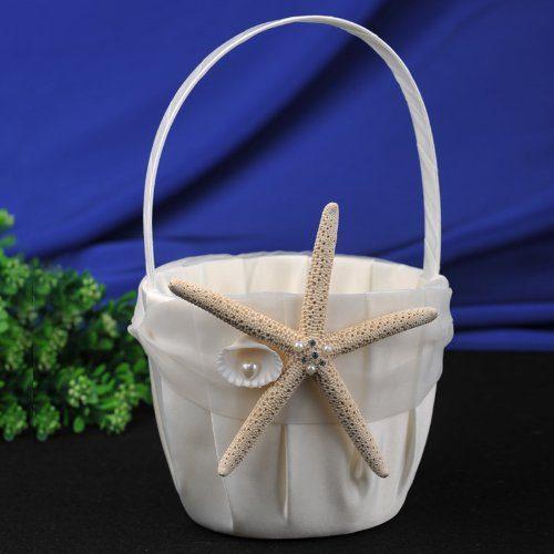 CheckMineOut Cream Starfish Seashell Satin Ring Pillow And Flower Girls Basket Set Beach Wedding Decoration 0 0