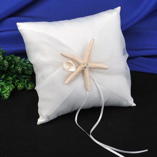 CheckMineOut Cream Starfish Seashell Satin Ring Pillow And Flower Girls Basket Set Beach Wedding Decoration 0 1