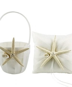 CheckMineOut Cream Starfish Seashell Satin Ring Pillow And Flower Girls Basket Set Beach Wedding Decoration 0 300x360