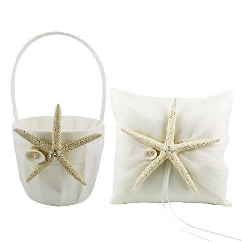 CheckMineOut Cream Starfish Seashell Satin Ring Pillow And Flower Girls Basket Set Beach Wedding Decoration 0
