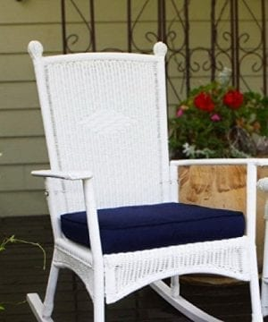 Costal White All Weather Wicker Deep Cushioned Seat Outdoor Rocking Chair 0 300x360
