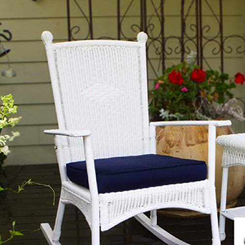 Costal White All Weather Wicker Deep Cushioned Seat Outdoor Rocking Chair 0