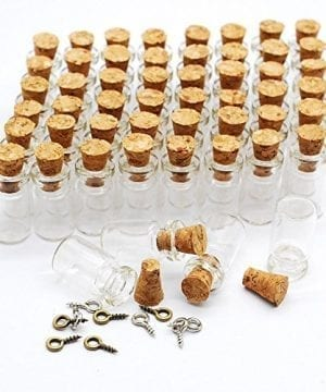 Eforstore 50pcs 05ml Vials Clear Glass Bottles With Corks 10pcs Eye Screws Miniature Glass Bottle With Cork Empty Sample Jars Small 18x10mm 0 300x360