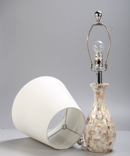 Elegant Designs LT1002 SHL Malibu Seashell Tiled Mosaic Look Curved Table Lamp With Chrome Accents 0 2