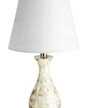 Elegant Designs LT1002 SHL Malibu Seashell Tiled Mosaic Look Curved Table Lamp With Chrome Accents 0 289x360