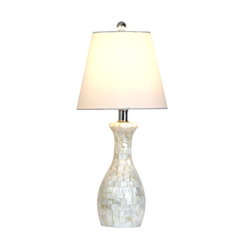 Elegant Designs LT1002 SHL Malibu Seashell Tiled Mosaic Look Curved Table Lamp With Chrome Accents 0 3