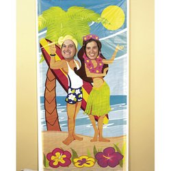Fun Express Luau Couple Face Photo Door Banner Poster Party Decor 0