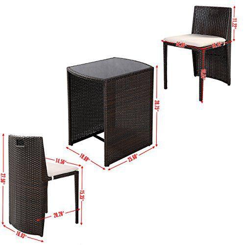 Giantex 3 PCS Cushioned Outdoor Wicker Patio Set Garden Lawn Sofa Furniture Seat Brown 0 0