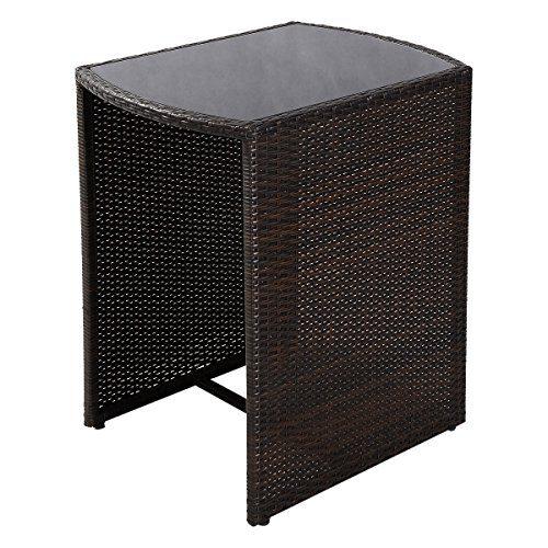 Giantex 3 PCS Cushioned Outdoor Wicker Patio Set Garden Lawn Sofa Furniture Seat Brown 0 2