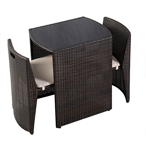 Giantex 3 PCS Cushioned Outdoor Wicker Patio Set Garden Lawn Sofa Furniture Seat Brown 0 3