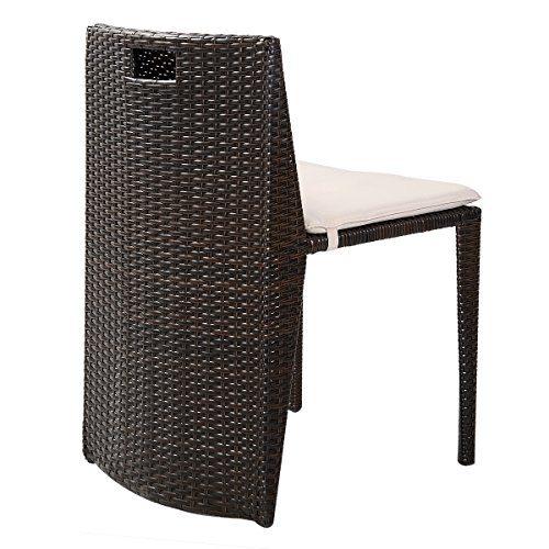 Giantex 3 PCS Cushioned Outdoor Wicker Patio Set Garden Lawn Sofa Furniture Seat Brown 0 4