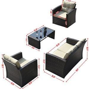 Giantex 4 PCS Cushioned Wicker Patio Sofa Furniture Set Garden Lawn Seat Gradient Brown 0 0 300x300