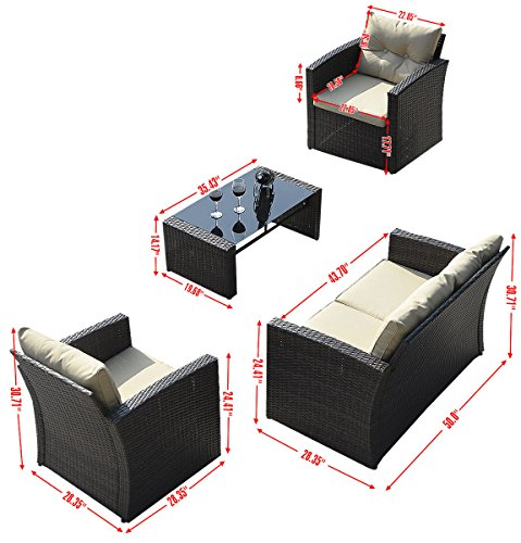 Giantex 4 PCS Cushioned Wicker Patio Sofa Furniture Set Garden Lawn Seat Gradient Brown 0 0