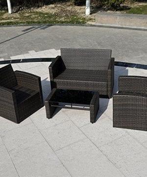 Giantex 4 PCS Cushioned Wicker Patio Sofa Furniture Set Garden Lawn Seat Gradient Brown 0 1 300x360