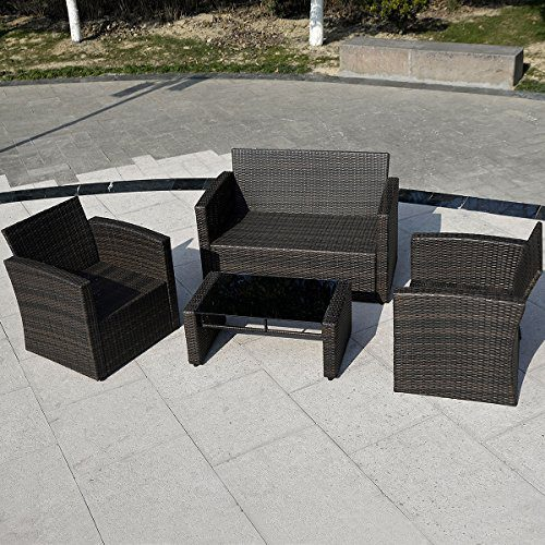 Giantex 4 PCS Cushioned Wicker Patio Sofa Furniture Set Garden Lawn Seat Gradient Brown 0 1