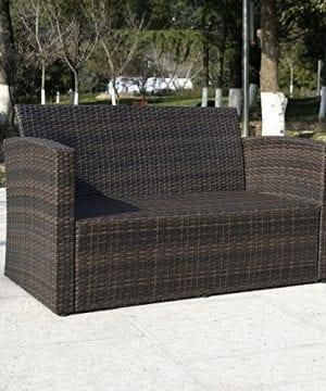 Giantex 4 PCS Cushioned Wicker Patio Sofa Furniture Set Garden Lawn Seat Gradient Brown 0 3 300x360