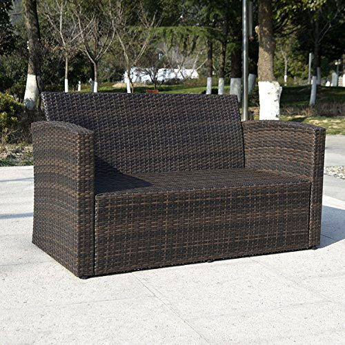 Giantex 4 PCS Cushioned Wicker Patio Sofa Furniture Set Garden Lawn Seat Gradient Brown 0 3