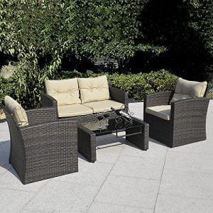 Giantex 4 PCS Cushioned Wicker Patio Sofa Furniture Set Garden Lawn Seat Gradient Brown 0 300x300