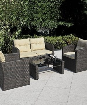 Giantex 4 PCS Cushioned Wicker Patio Sofa Furniture Set Garden Lawn Seat Gradient Brown 0 300x360