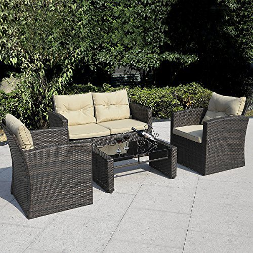 Giantex 4 PCS Cushioned Wicker Patio Sofa Furniture Set Garden Lawn Seat Gradient Brown 0
