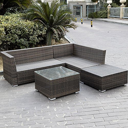 Giantex 4pc Patio Sectional Furniture Pe Wicker Rattan Sofa Set Deck Couch Outdoor 0 1