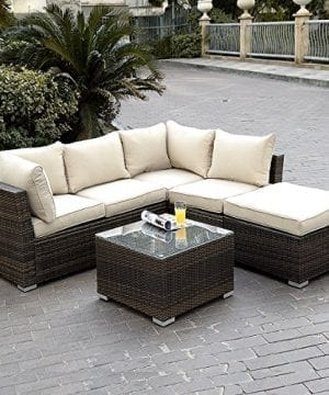 Giantex 4pc Patio Sectional Furniture Pe Wicker Rattan Sofa Set Deck Couch Outdoor 0 300x360