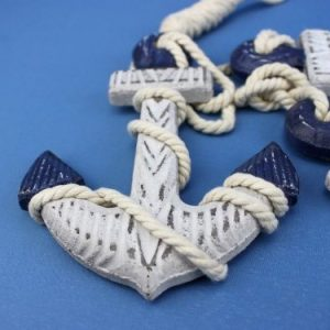Handcrafted Nautical Decor Wooden Rustic Blue Triple Anchor Set 7 0 0 300x300