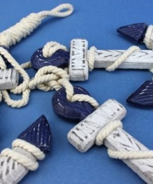 Handcrafted Nautical Decor Wooden Rustic Blue Triple Anchor Set 7 0 1 300x360