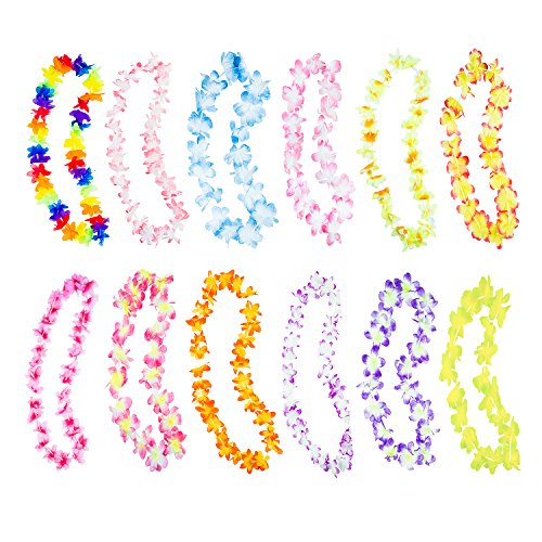Hawaiian Ruffled Simulated Colorful Luau Silk Flower Leis Necklaces For Tropical Island Beach Theme Party Event Birthday Supplies Costume 50 Pack By Super Z Outlet 0