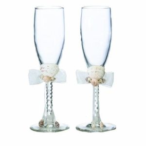 Lillian Rose Seaside Seashell Toasting Glasses 8 Inch Ivory 0 300x300