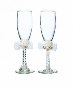 Lillian Rose Seaside Seashell Toasting Glasses 8 Inch Ivory 0 300x360
