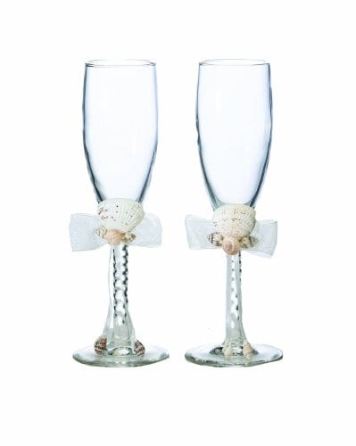 Lillian Rose Seaside Seashell Toasting Glasses 8 Inch Ivory 0