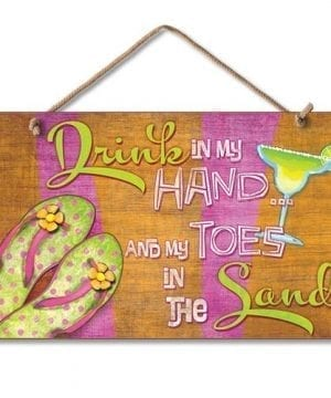 New-Sign-Drink-in-Hand-Toes-in-Sand-Flip-Flop-Art-Paradise-Plaque-0-300x360 100+ Wooden Beach Signs & Wooden Coastal Signs