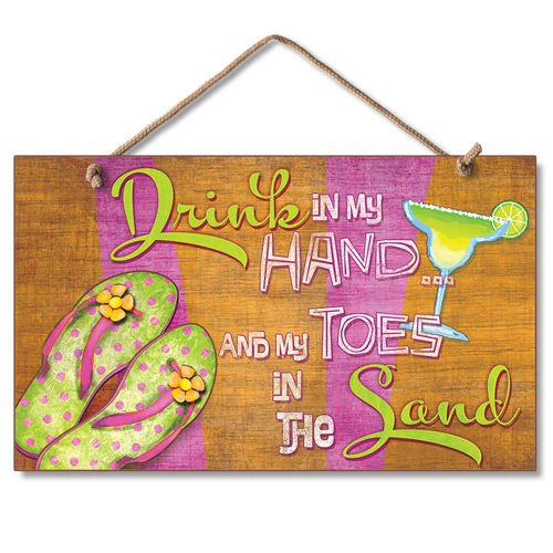New Sign Drink In Hand Toes In Sand Flip Flop Art Paradise Plaque 0